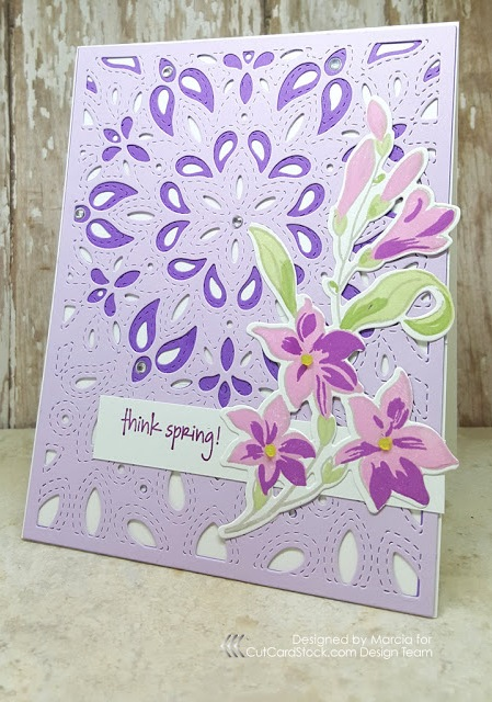 The finished Think Spring purple card
