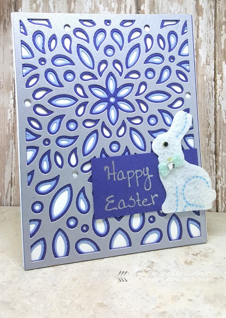 The finished blue and silver Happy Easter card